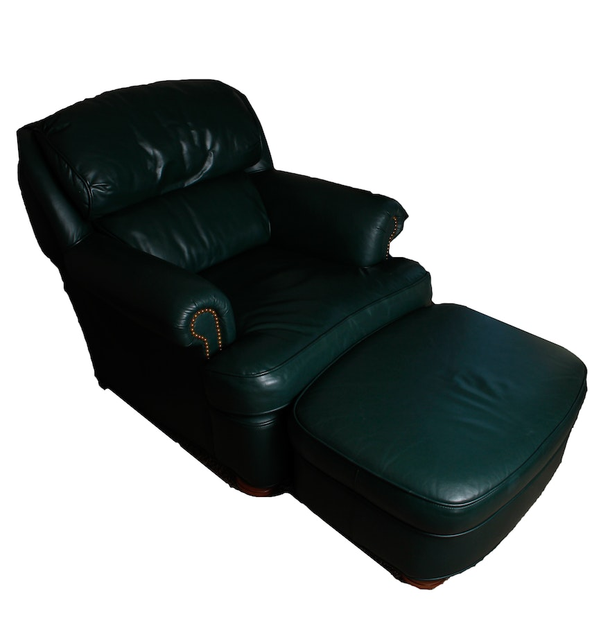 Leather green armchair with ottoman ebth for Armchair with ottoman