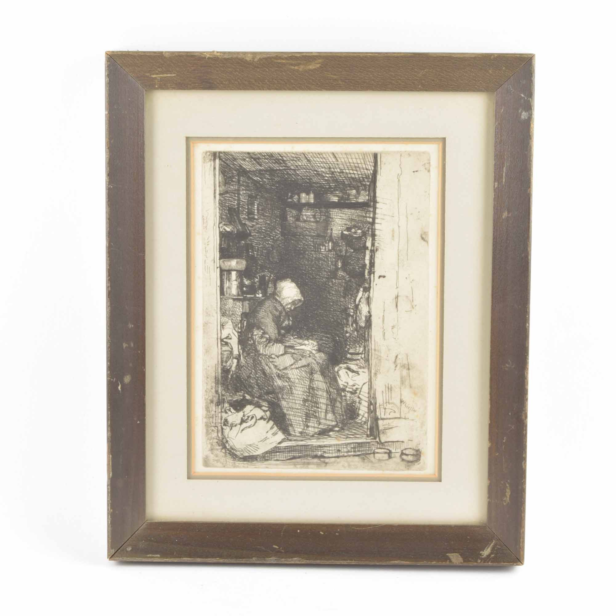 "Framed James McNeill Whistler Print ""La Vieille Aux Loques"""