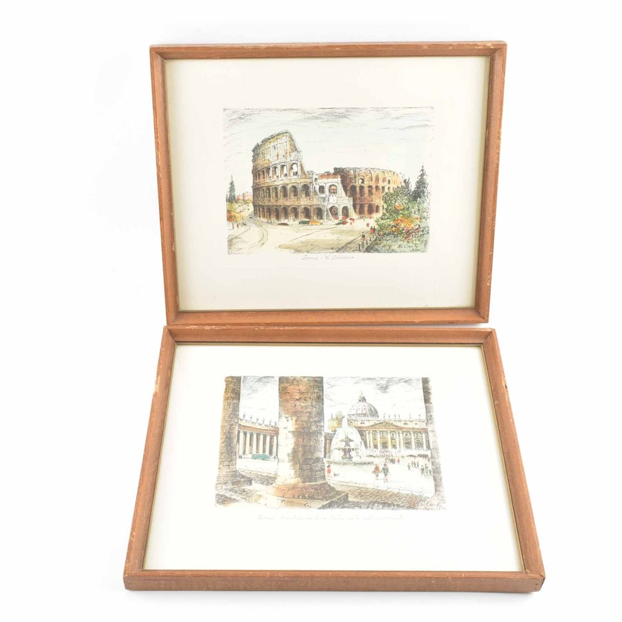Rome, Italy Framed De Carly Prints of Ink and Watercolor Paintings ...