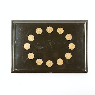 Vintage Couroc Inlaid Brass Astrology Tray