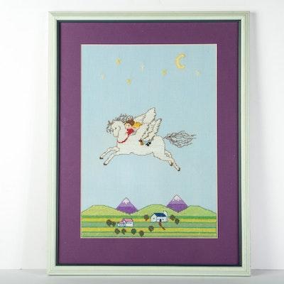 Flying Framed Pegasus Needlepoint
