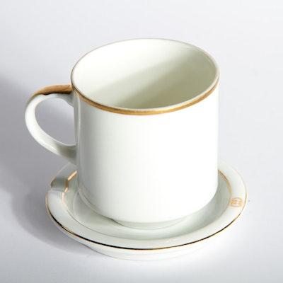 Vintage Gucci Porcelain Gold Rimmed Teacup and Saucer Set