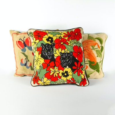 Three Vintage Floral Themed Needlepoint Pillows