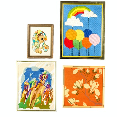 Vintage 1970's Collection of Framed Needlepoints
