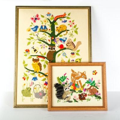 1970's Novelty Forest Animals Framed Needlepoints