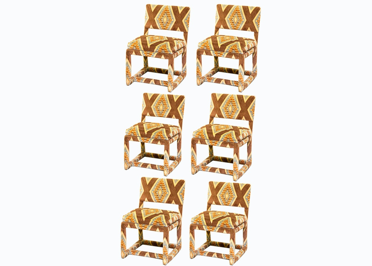 Set Of Vintage Thayer Coggin Geometric Print Upholstered Chairs Ebth