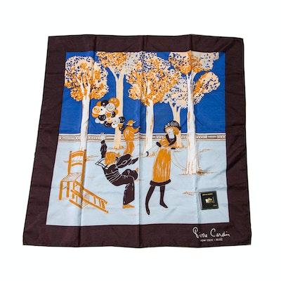 Pierre Cardin Silk Scarf and Figural Scarf Pendant
