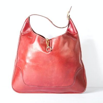Vintage Hermès Red Leather Trim Bag with Gold Tone Hardware