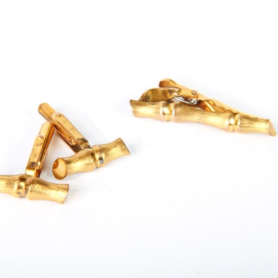 14k Yellow Gold Bamboo Motif Cufflinks with Tie Clip
