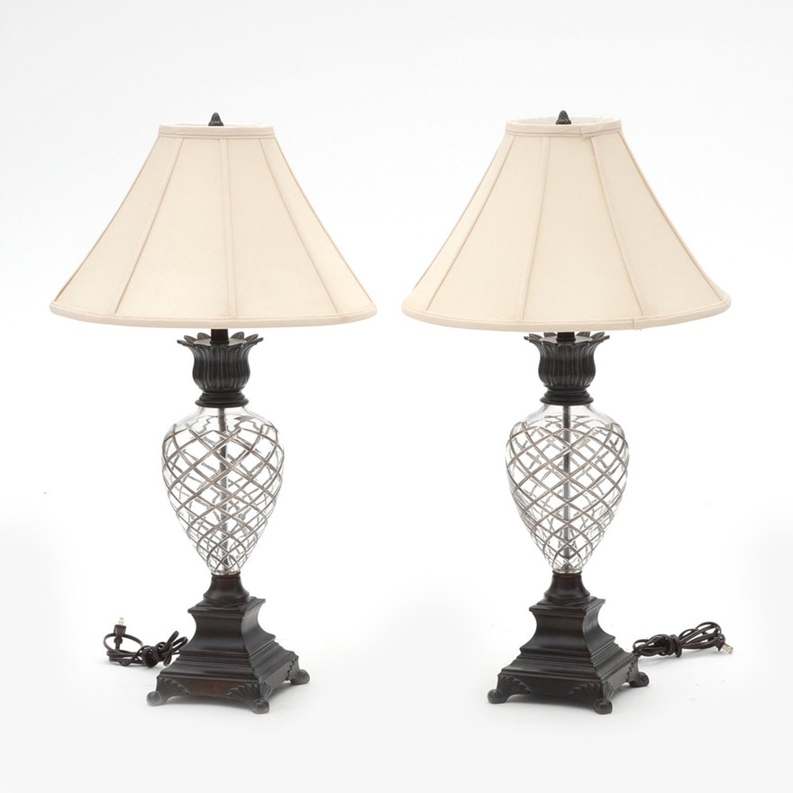 Ethan Allen Crystal Pineapple Motif Table Lamps Ebth