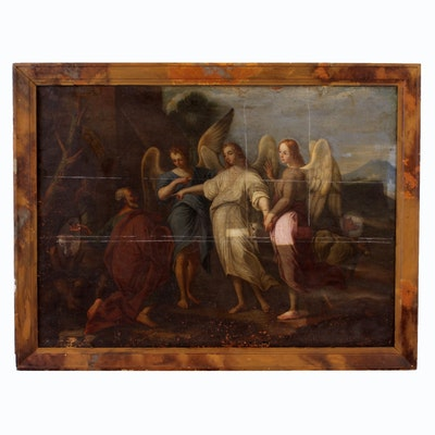 18th or 19th Century Oil Painting of Angels Appearing to Abraham