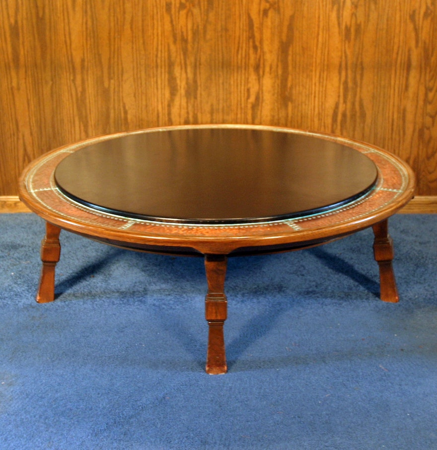 Vintage Romweber Viking Oak Round Leather Top Copper Bound Coffee Table Ebth