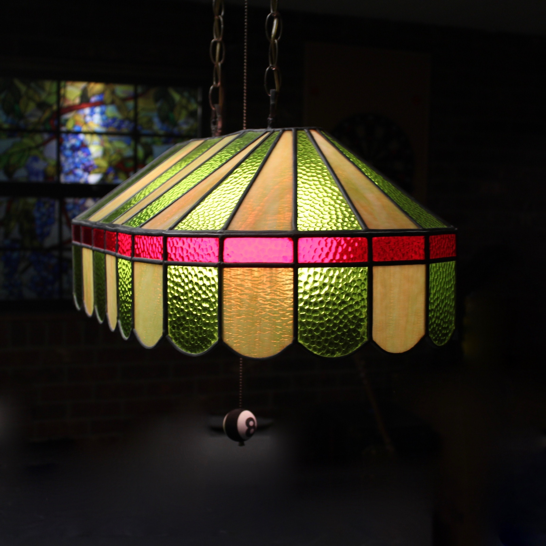 Leaded Glass Pool Table Lamp Ebth