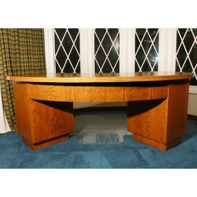 Vintage desks antique desks and used desks auction in traditional furnishings collectibles - Kidney shaped office desk ...