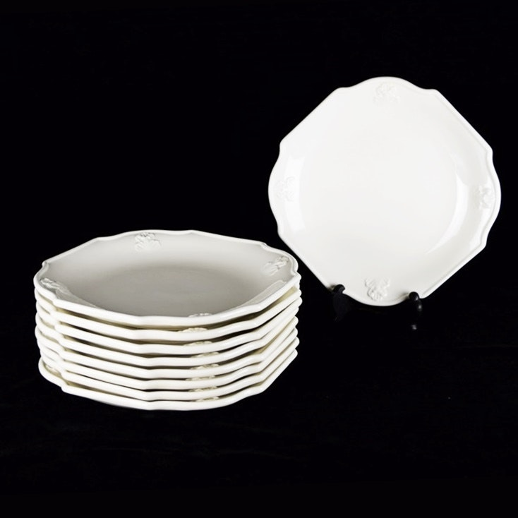 Set of Nine  Mancer  Italian Made White Glazed Dinner Plates with Notched Corners ... & Set of Nine