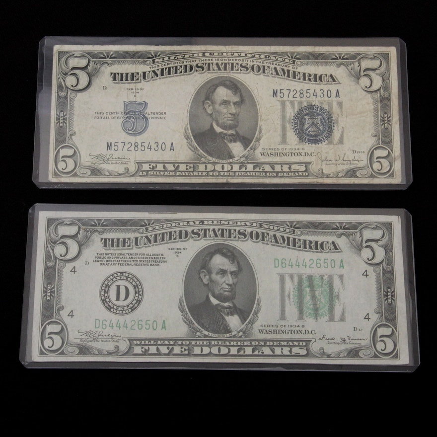 1934 B 5 Federal Reserve Note And 1934 C 5 Silver Certificate Ebth