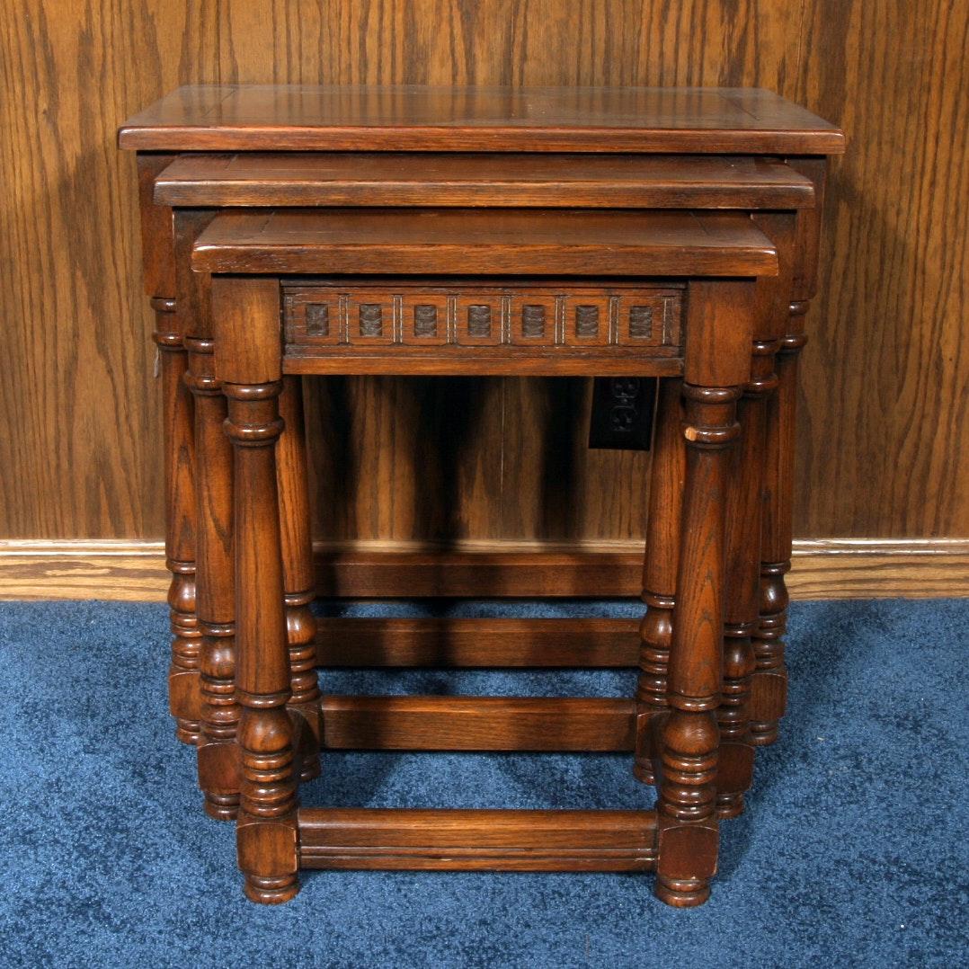 Vintage Romweber Viking Oak Nesting Tables ...