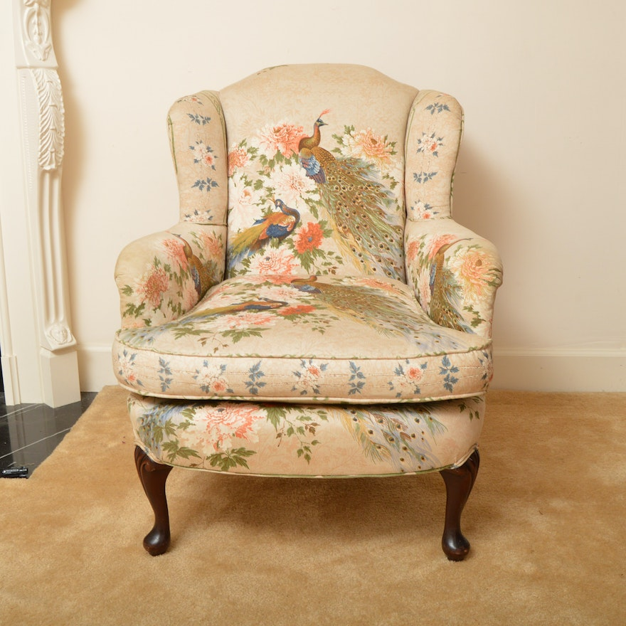 Upholstered Peacock Print Wingback Chair Ebth