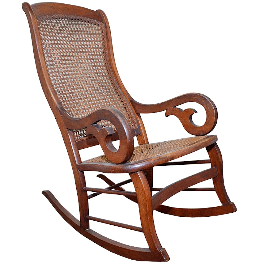 Antique American Empire Cane Rocking Chair ... - Antique American Empire Cane Rocking Chair : EBTH