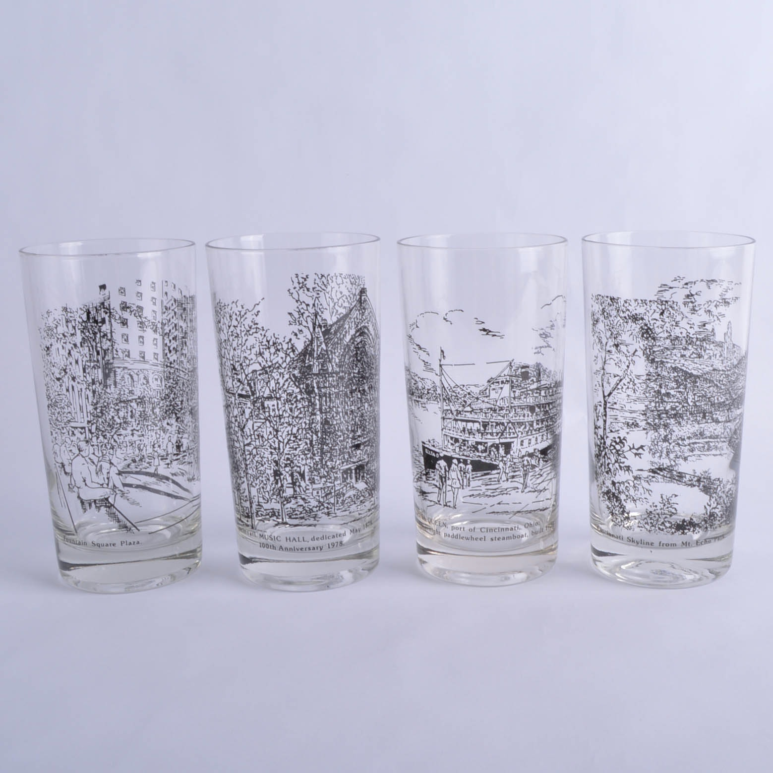 Signed carolyn williams cincinnati scene glassware