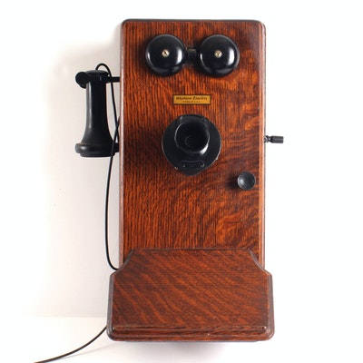 Antique Western Electric Wood Case Wall Telephone with Crank