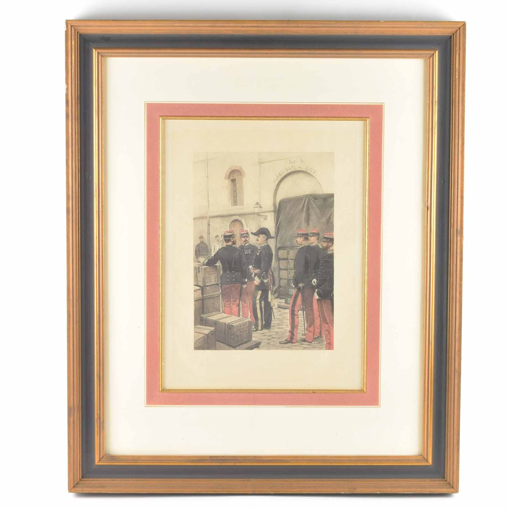 Framed Antique French Hand-Colored Print with Aquatint of French Soldiers