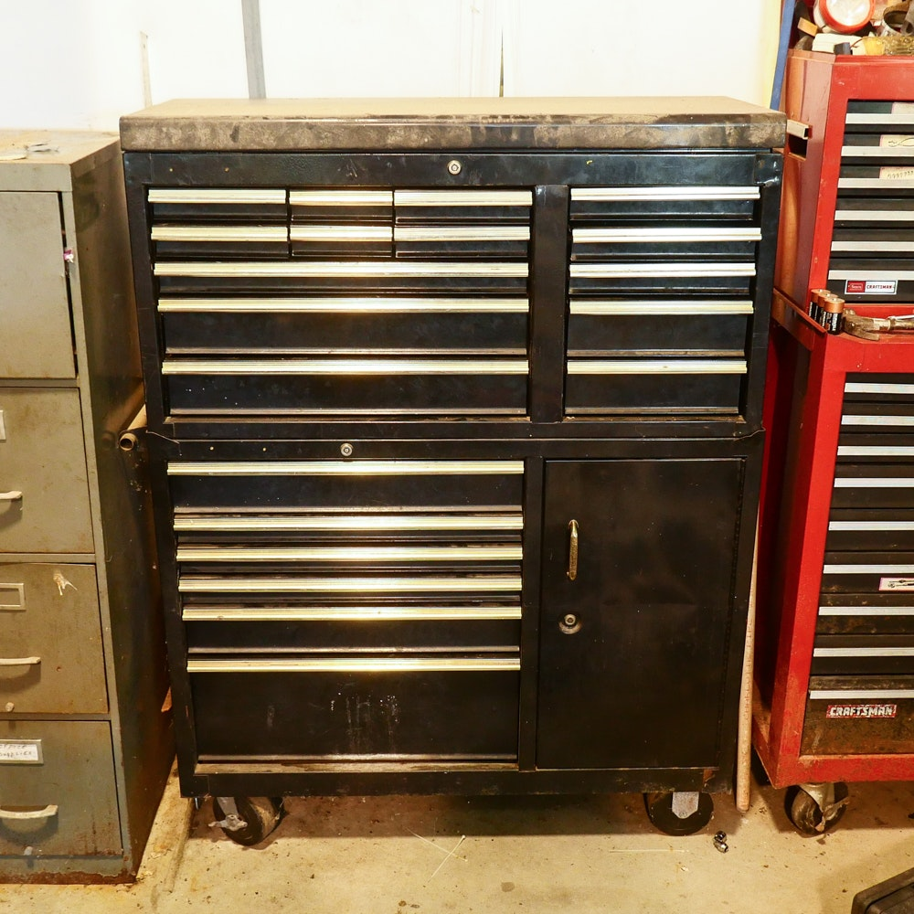 Large Rolling Metal Tool Cabinet with Tools