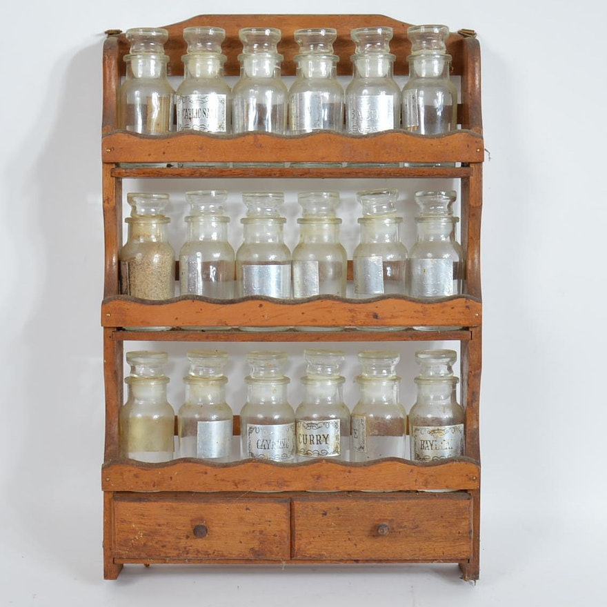 Vintage Wooden Spice Rack And Glass Spice Jars