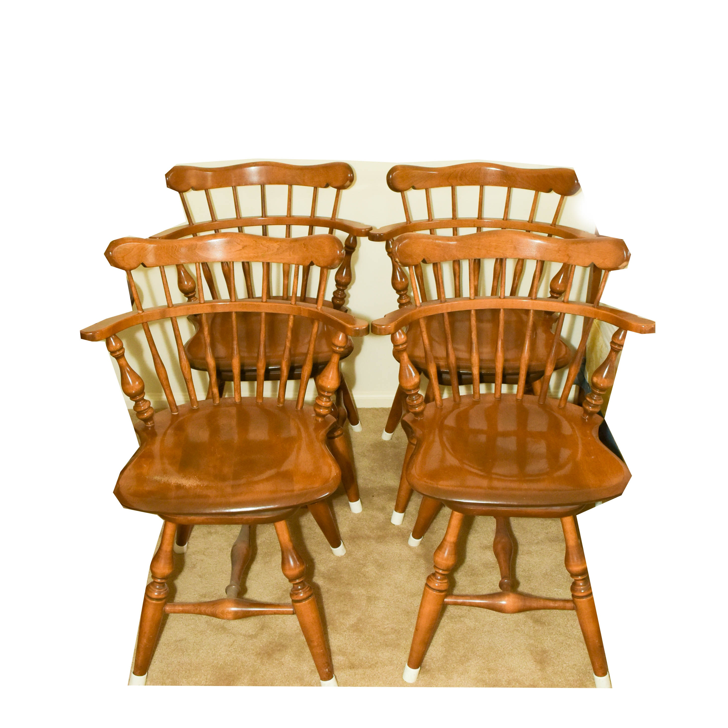 Set Of Four Ethan Allen Maple Swivel Chairs ...