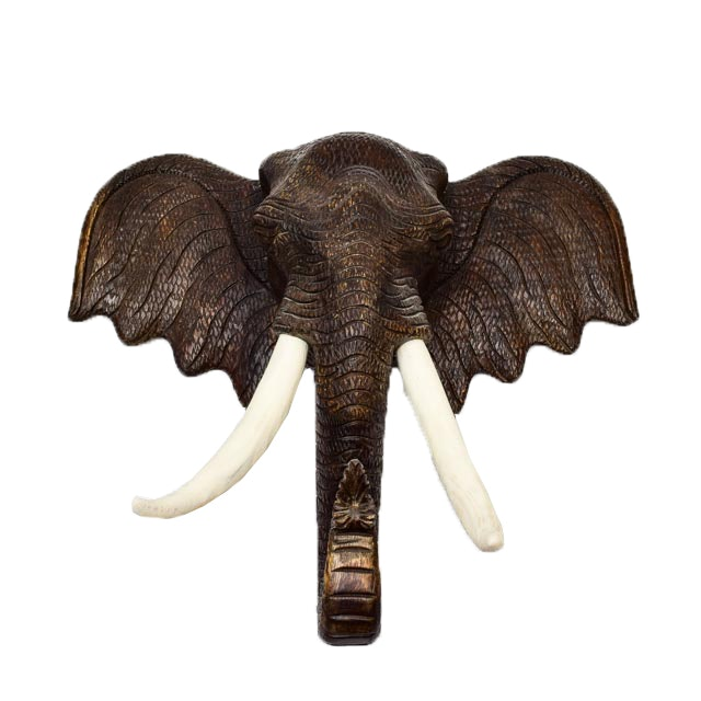 Carved Wooden Elephant Bust