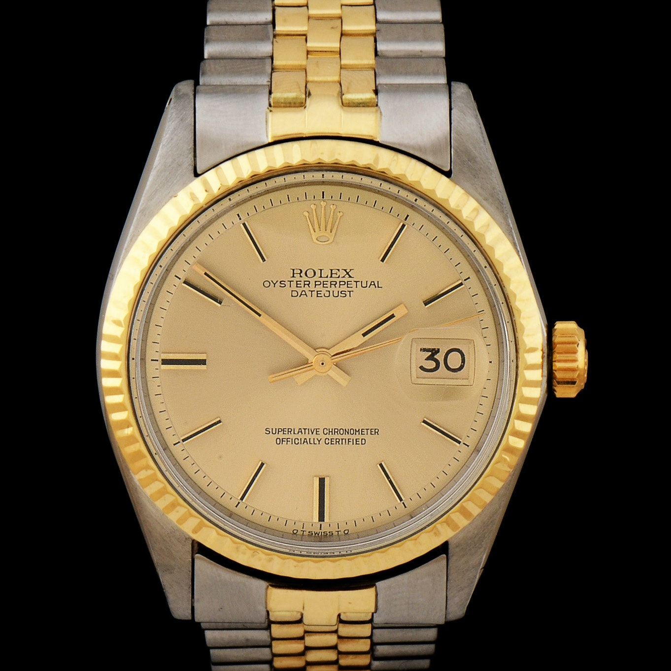 Men's Rolex Datejust 14K Gold and Steel 36mm Automatic Champagne Index Dial Watch