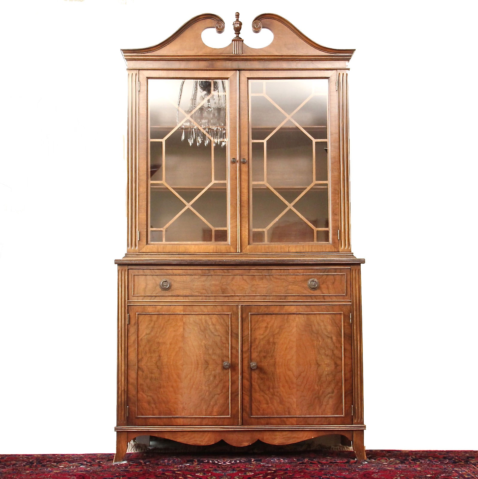 Vintage Hepplewhite Style Burl Wood Veneer China Cabinet ...