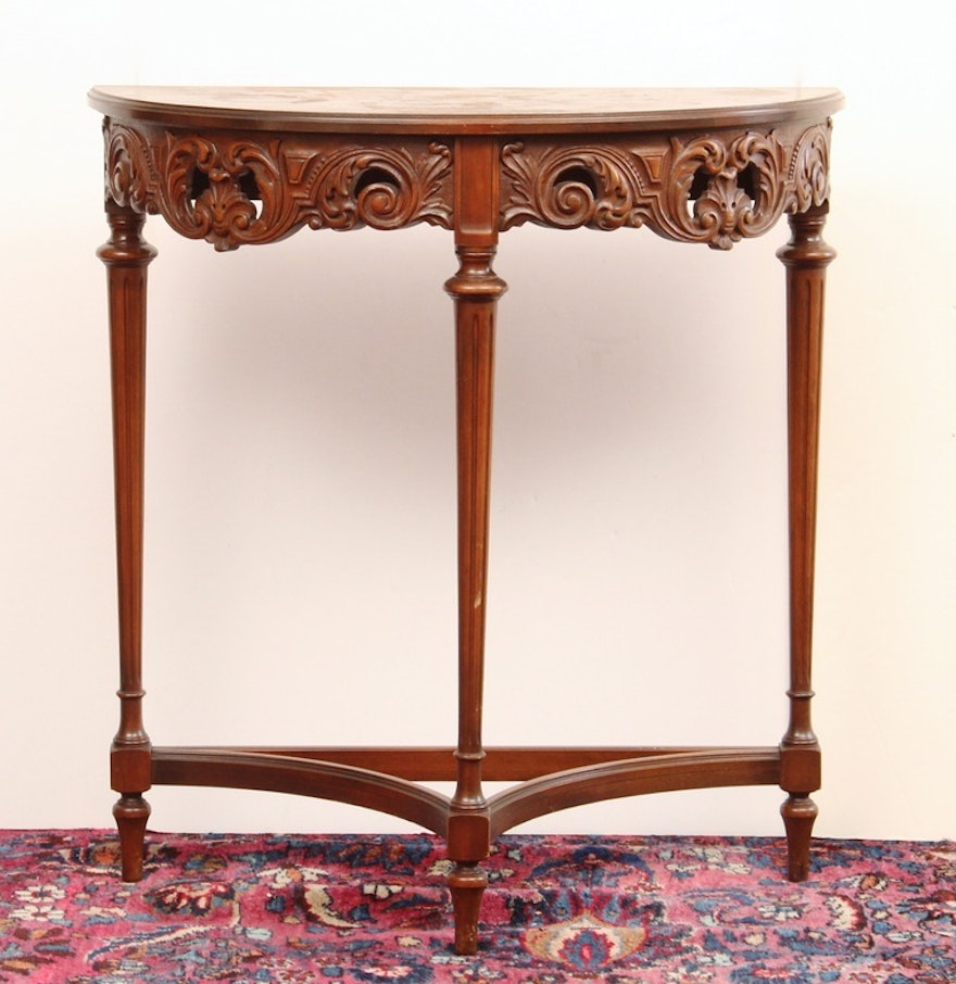 Grand Rapids Imperial Furniture Carved Demilune Table