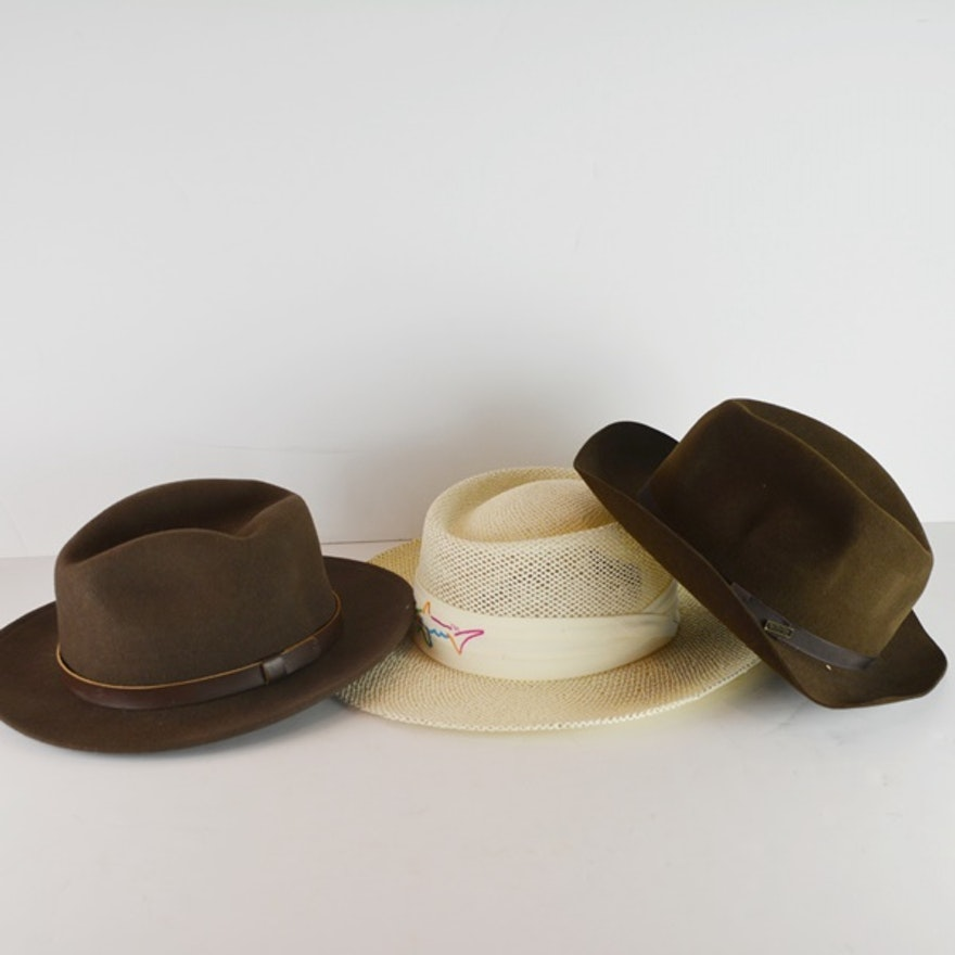 456f90f85be Greg Norman Straw Hat and Two Felt Hats   EBTH