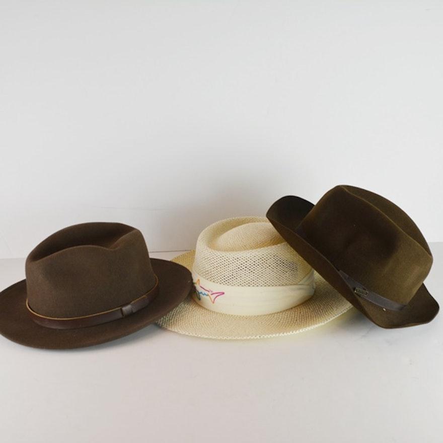 Greg Norman Straw Hat and Two Felt Hats   EBTH fbf199881235