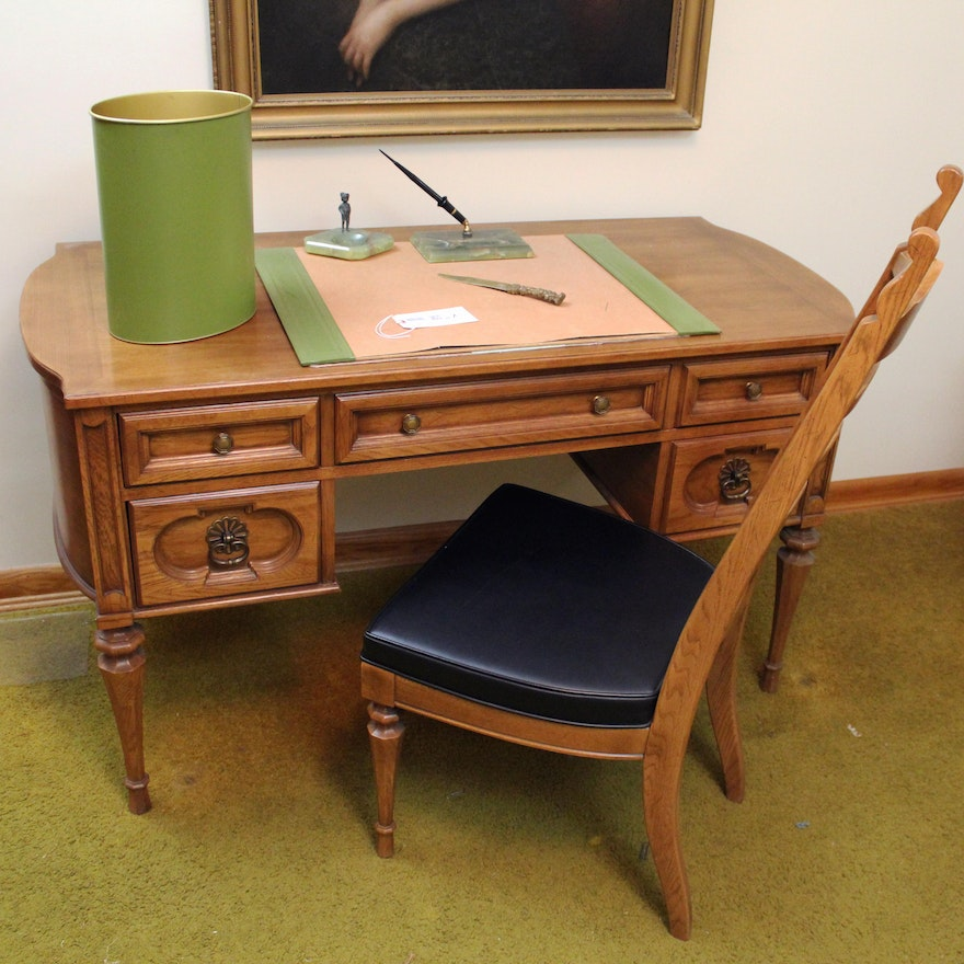 Vintage Unique Furniture Makers Federal Style Desk And Extras