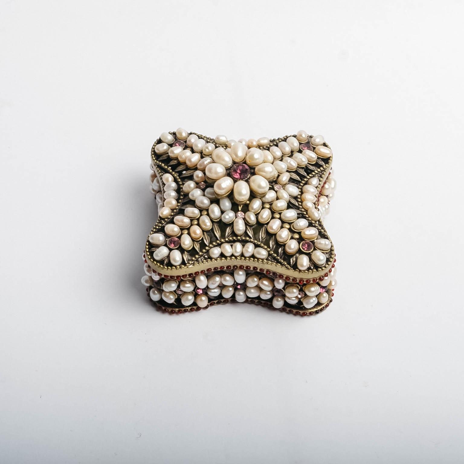 Pearl and Rhinestone Trinket Box