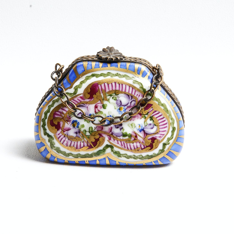 Limoges Porcelain Hand Painted Purse Trinket Box