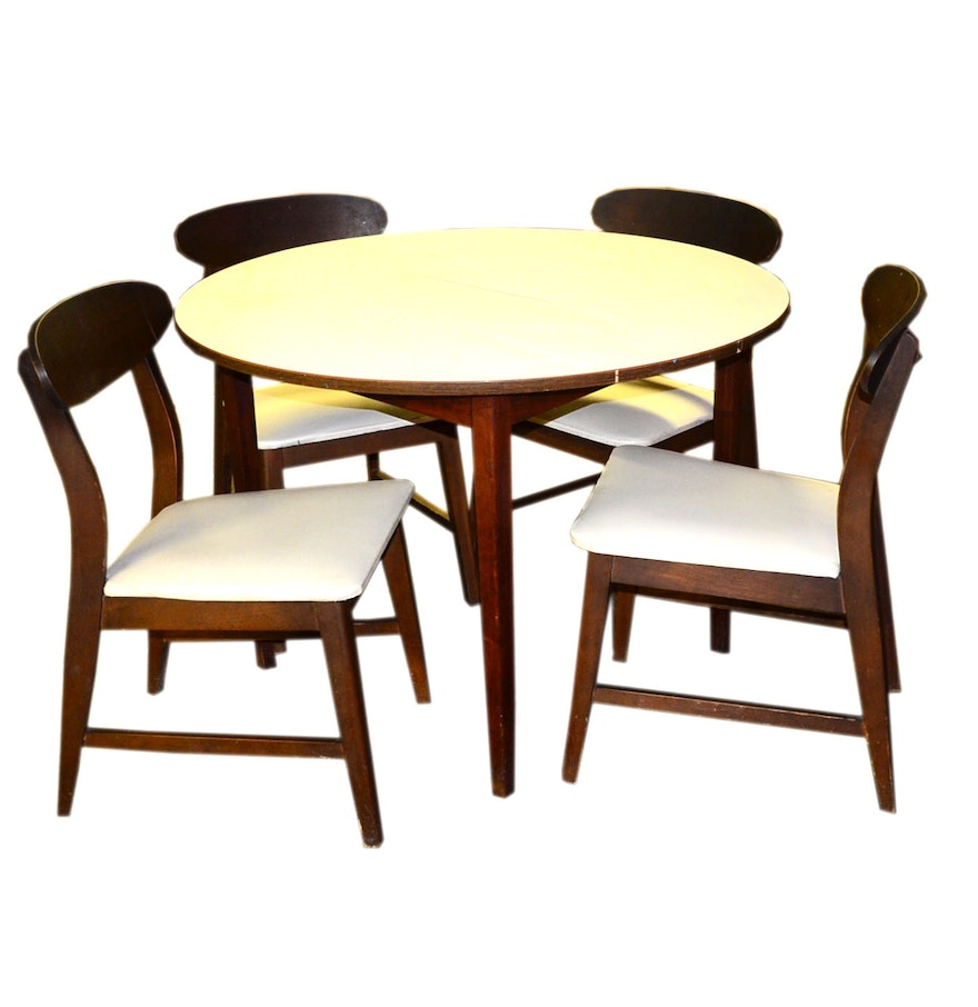 richbilt mid century round dining table and chairs ebth. Black Bedroom Furniture Sets. Home Design Ideas