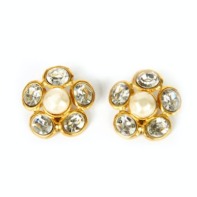 Vintage Chanel Faux Pearl and Crystal Clip-On Earrings