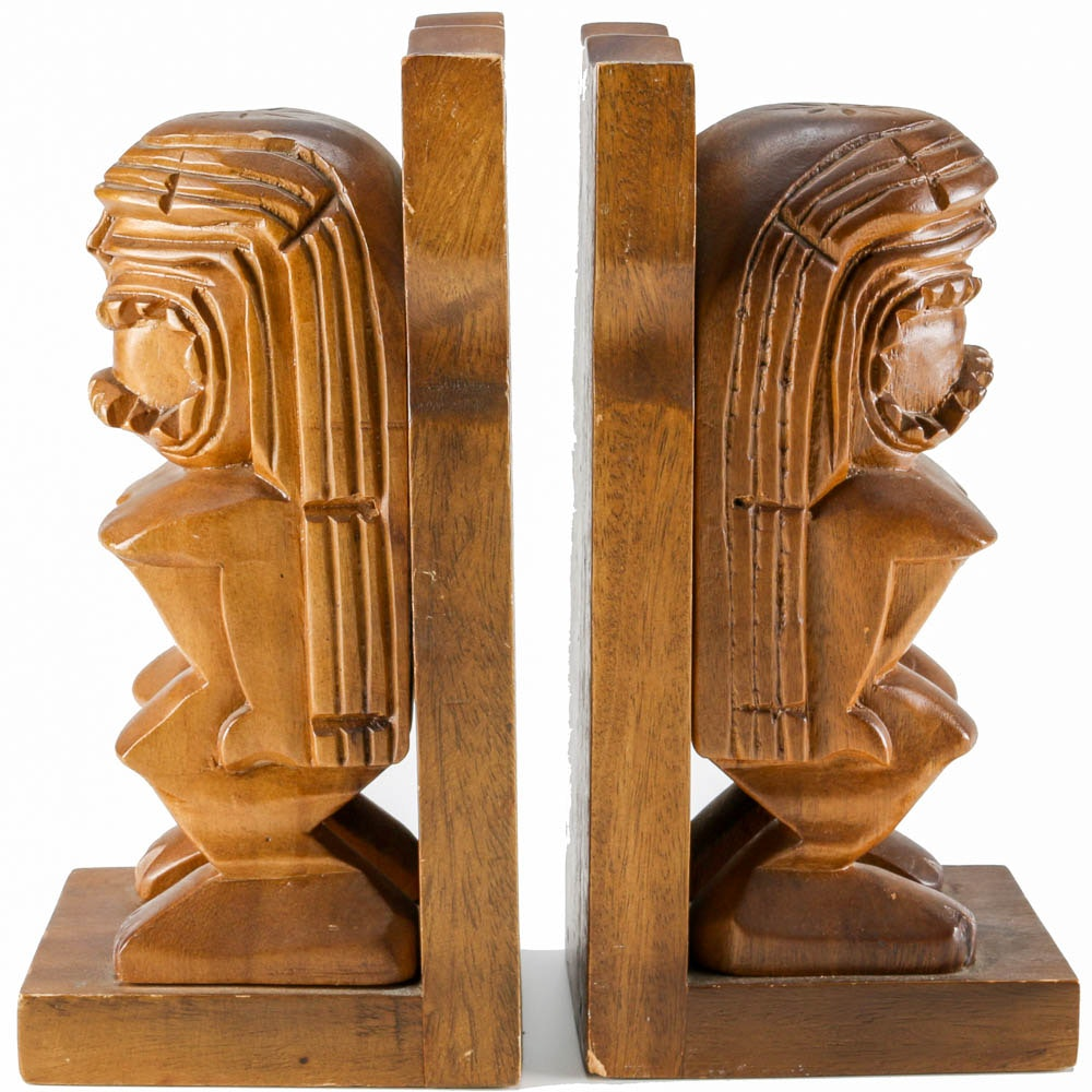 Pair of Tiki God Wooden Bookends