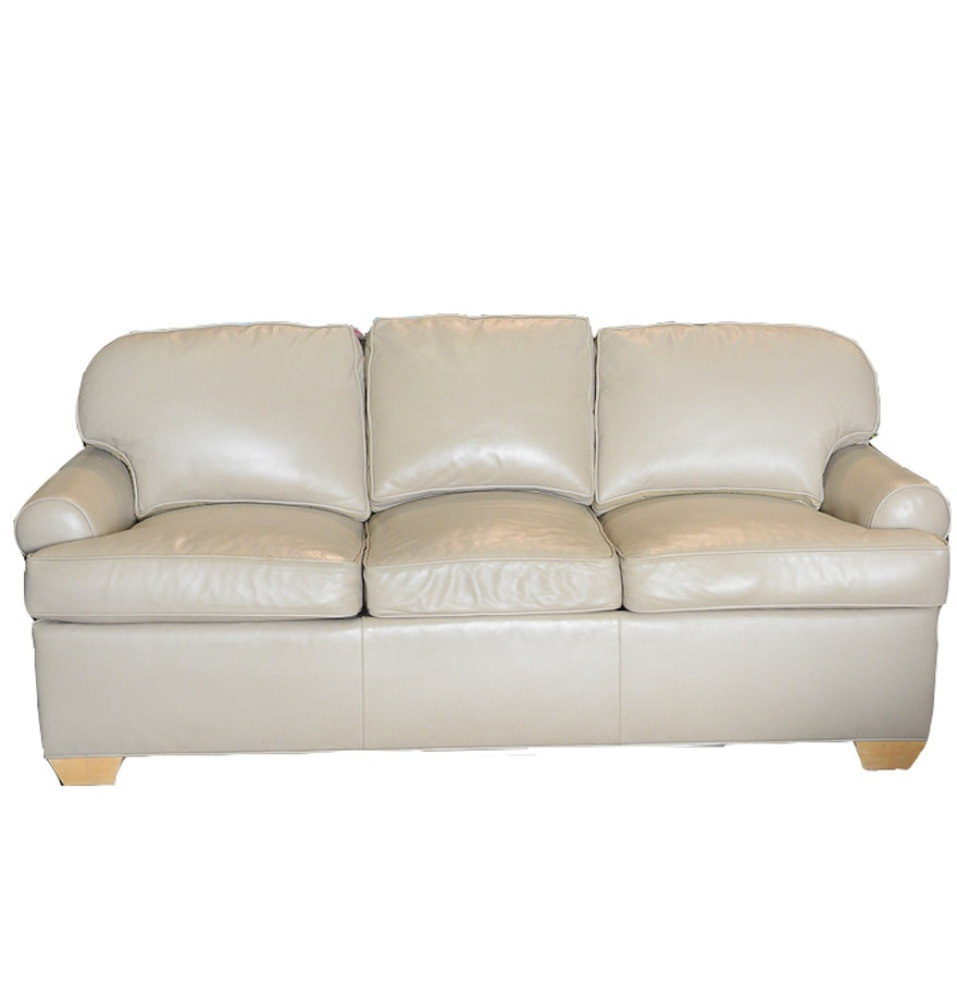 Gray leather sofa by the charles stewart company ebth for The sofa company
