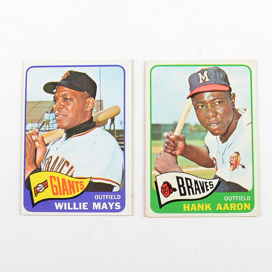 1965 Willie Mays And Hank Aaron Topps Baseball Cards