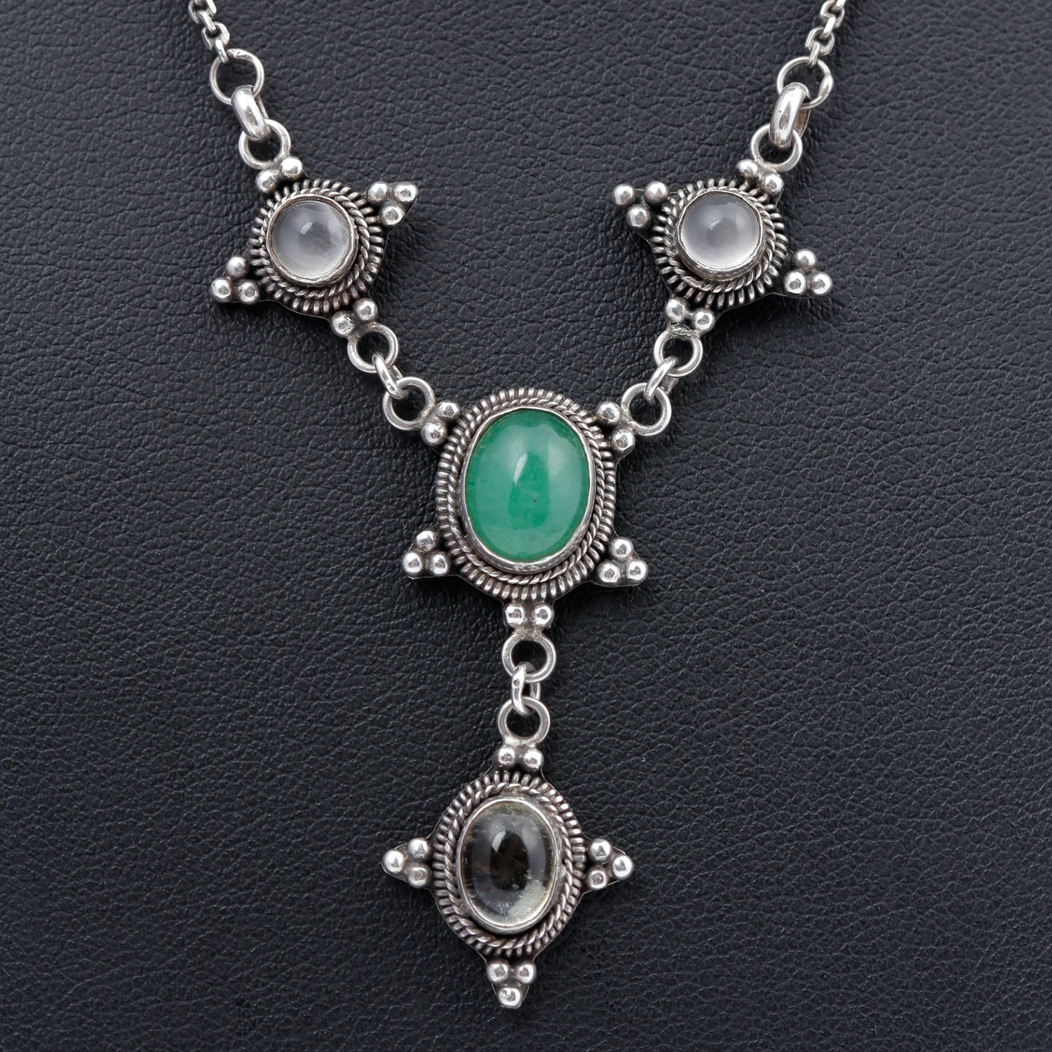 Sterling Silver Chrysoprase and Quartz Pendant Necklace