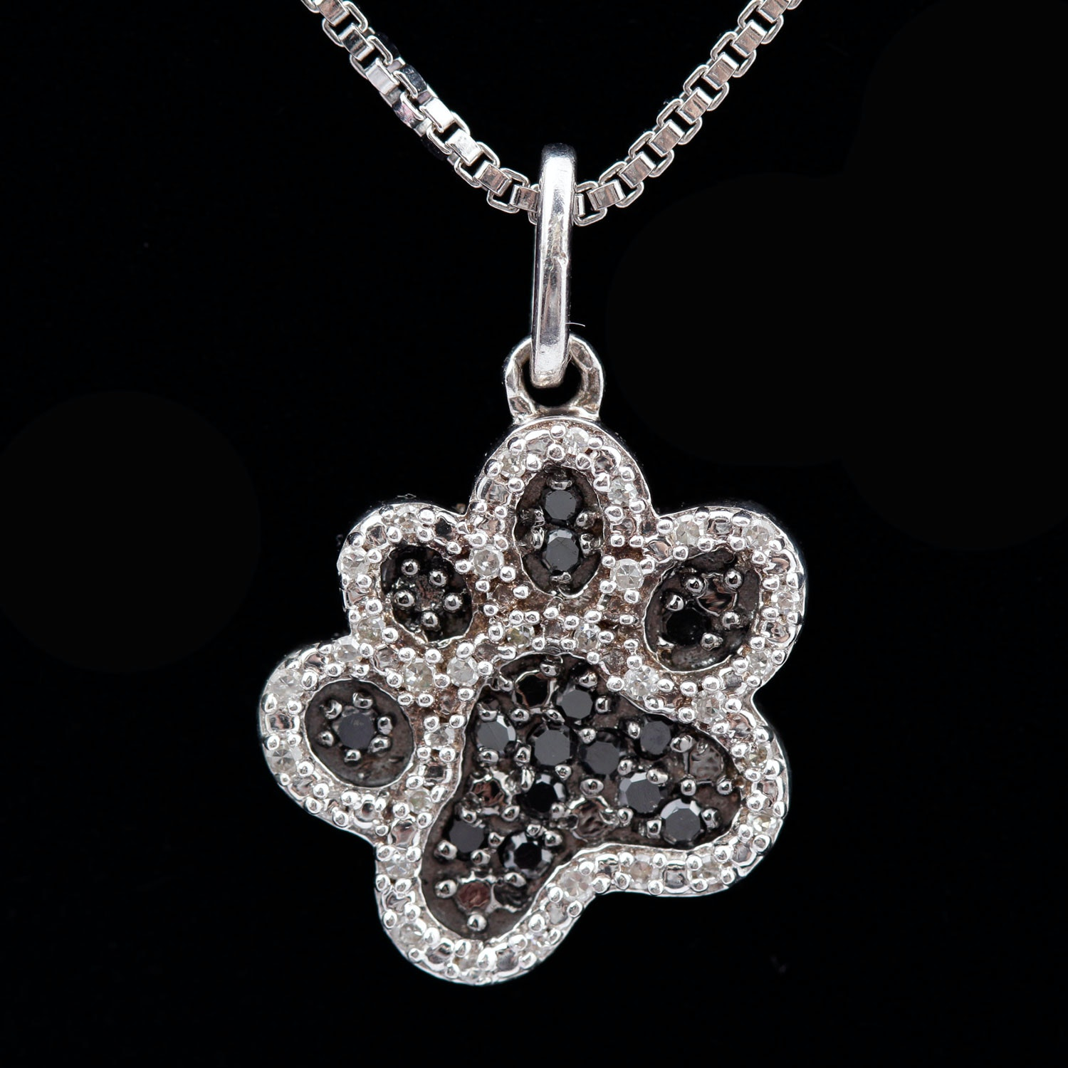 Sterling Silver Black and White Diamond Paw Pendant Necklace