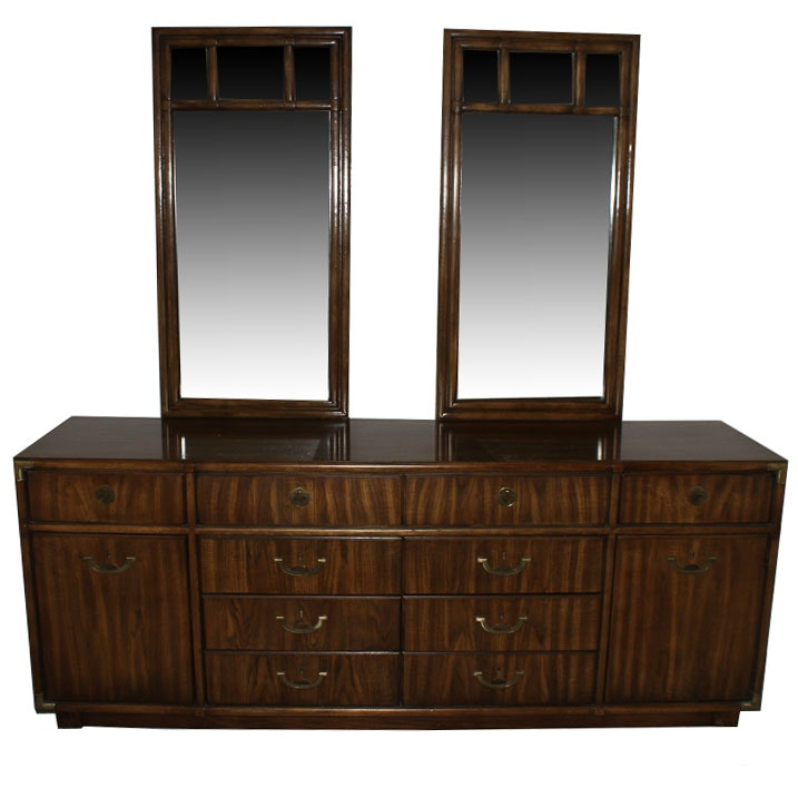 "Drexel Heritage ""Accolade"" Dresser and Two Wall Mirrors"