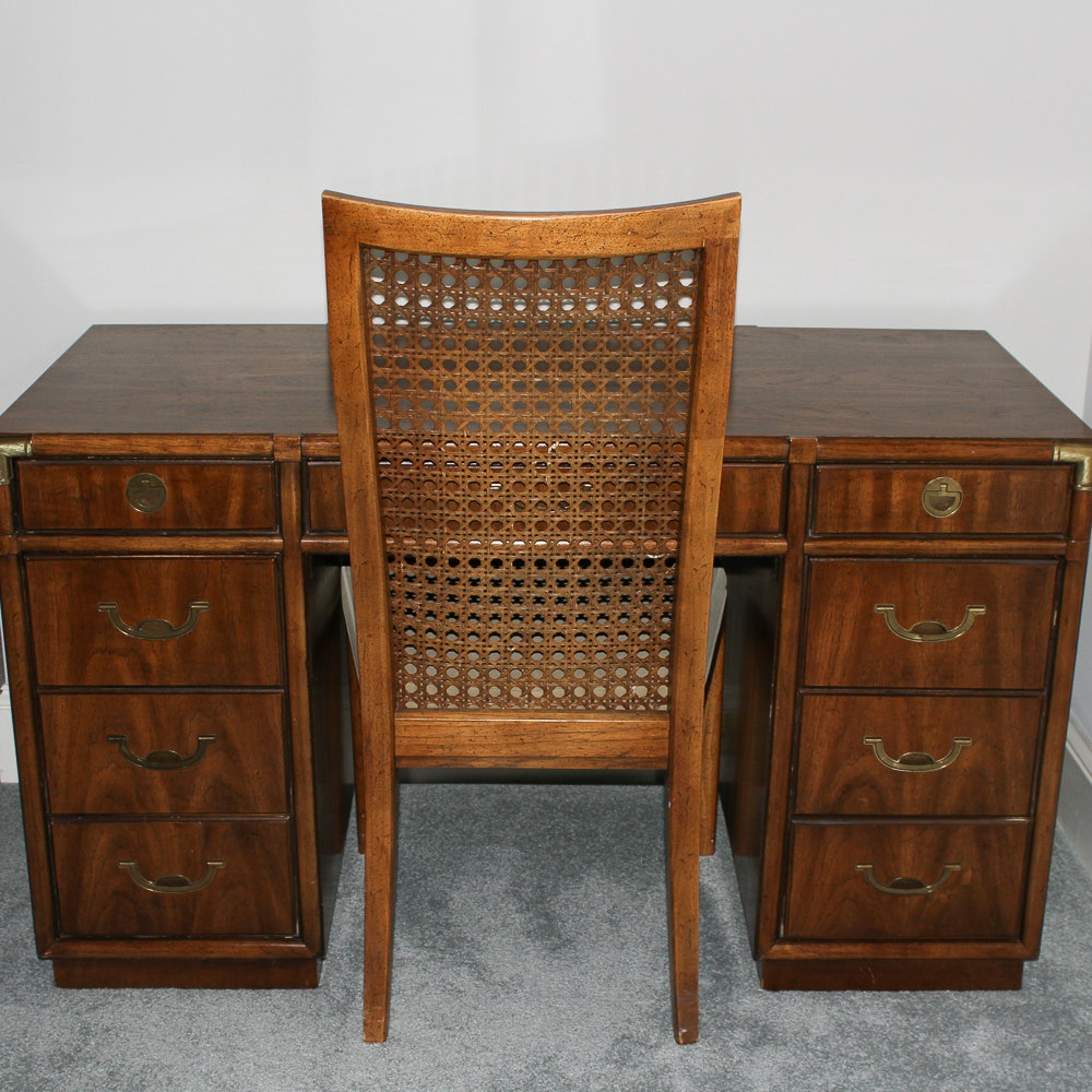 "Drexel Heritage ""Accolade"" Campaign Style Desk and Chair"