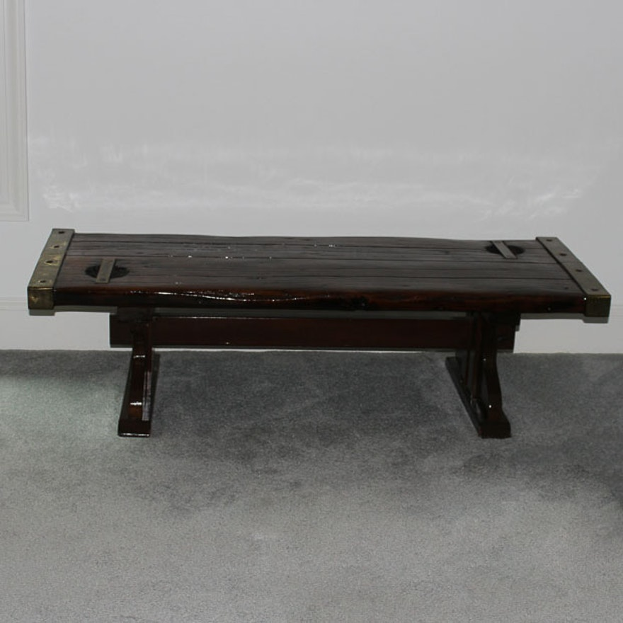 Coffee Table Made With Ship Hatch Cover EBTH - Ship hatch coffee table