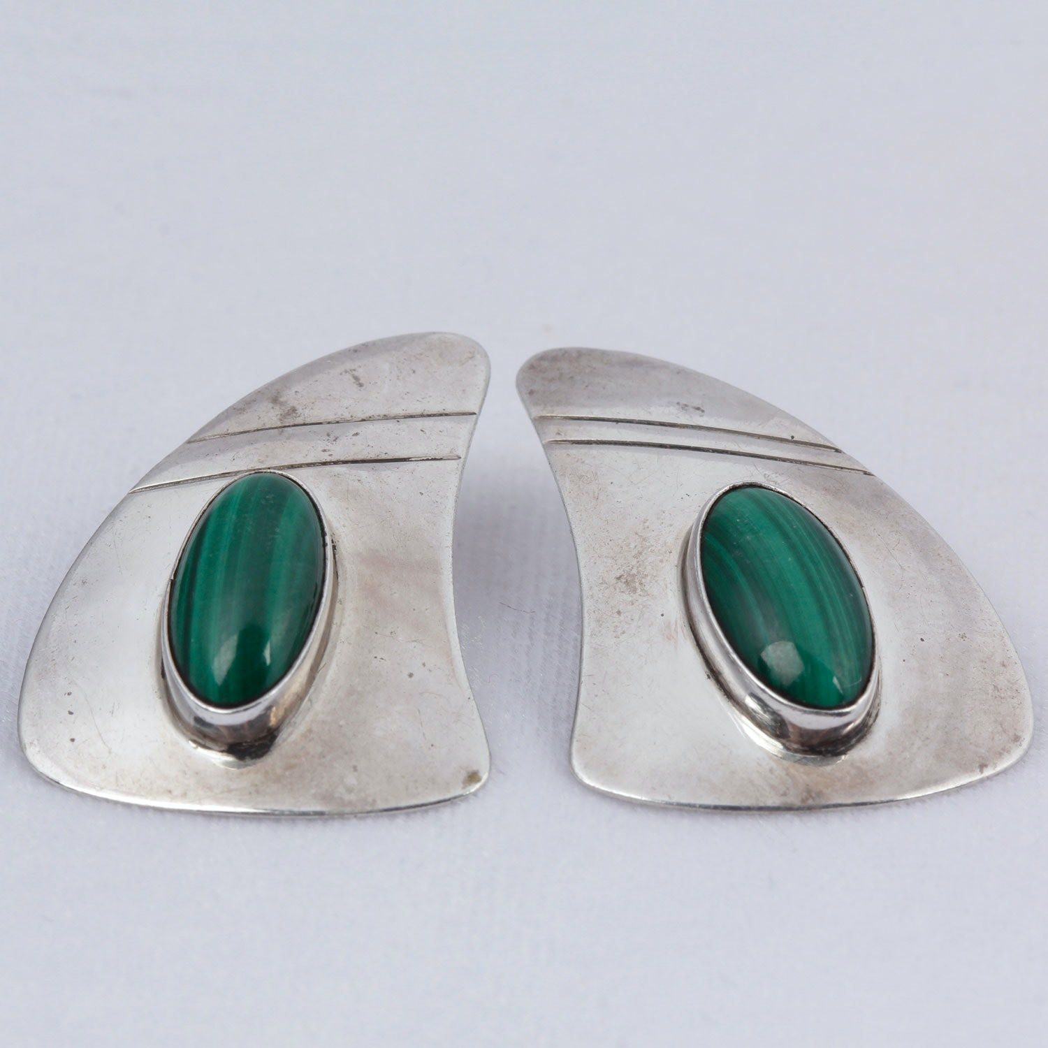 Vintage EMT Sterling Silver Malachite Earrings