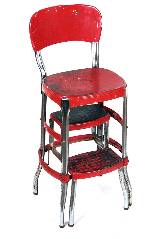 Vintage Cosco Kitchen Step Stool Chair Ebth